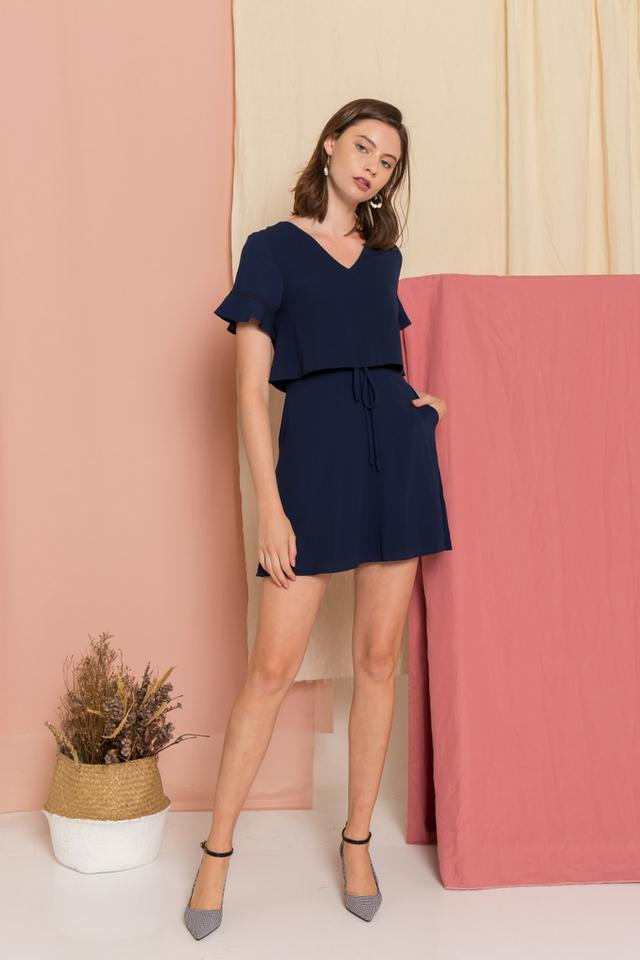 Madison Layered Skater Dress in Navy (XS)