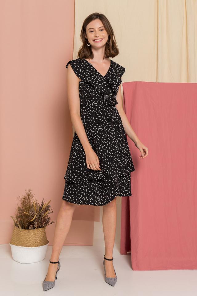 Rachella Sprinkles Overlay Midi Dress in Black (XS)