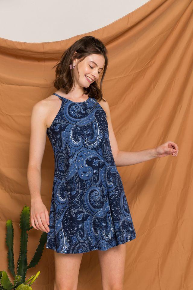 Arissa Bohemian Halter Dress in Navy (XL)