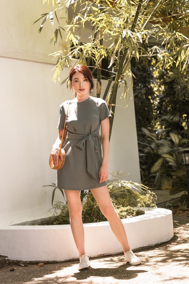 Evelynn Ribbon Shift Dress in Sage (XS)