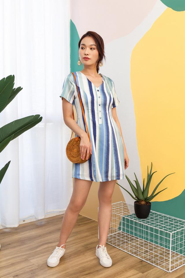 Jameen Striped Button Dress (XS)