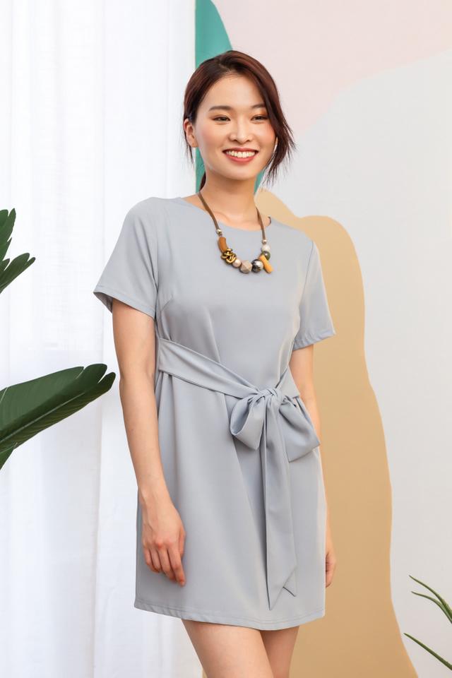 Evelynn Ribbon Shift Dress in Dusty Blue (XS)
