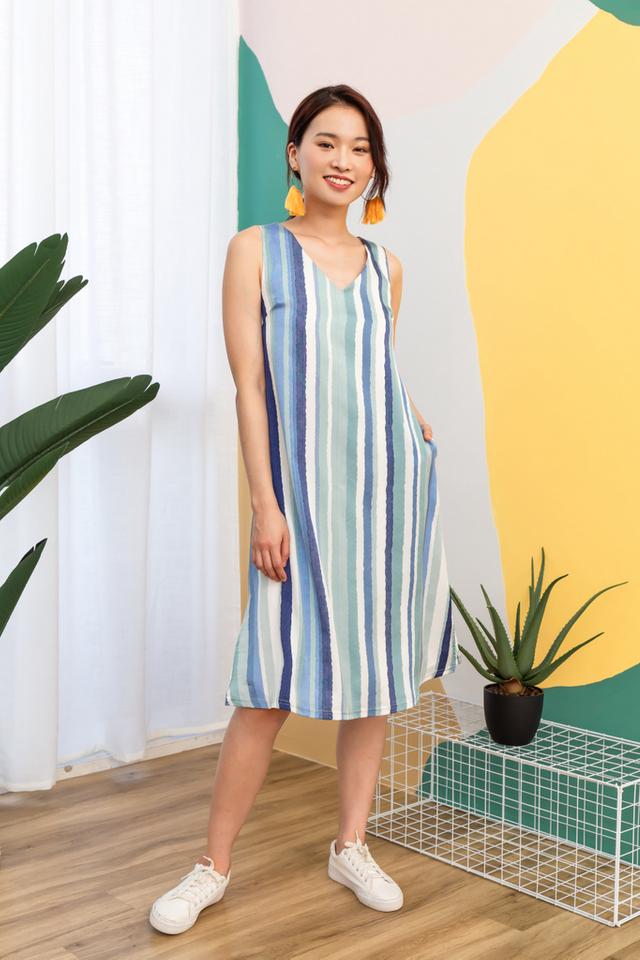 Pansie Striped Midi Dress
