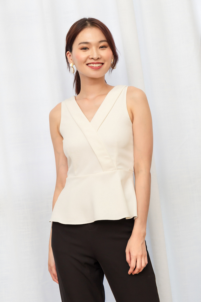 Beata Faux Wrap Peplum Top in White (XL)