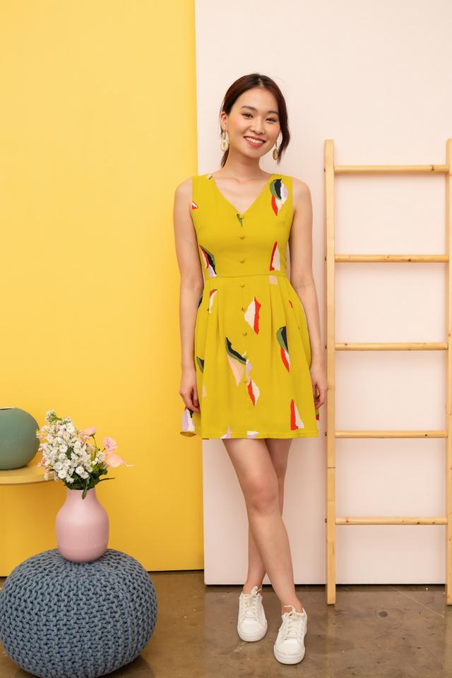 Zandra Abstract Button Dress in Dusty Mustard