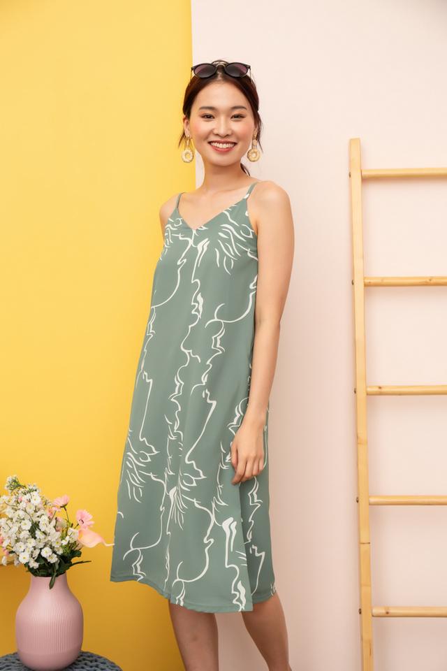 Sherene Abstract Slip Midi Dress in Sage
