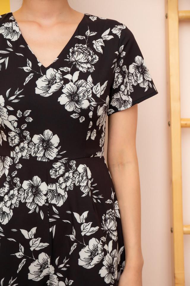 Vivica Floral Ruffle Hem Romper in Black (XS)