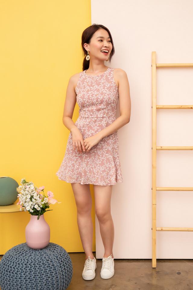 Yanet Foliage Sheath Dress in Dusty Pink