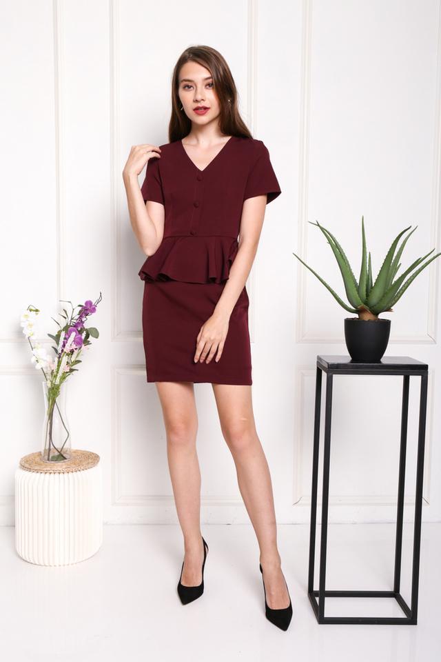 Harper Peplum Button Dress in Wine (XS)