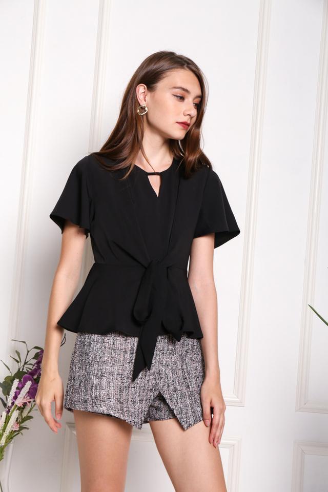 Laure Front Tie Peplum Top in Black (XS)