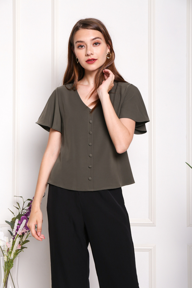 Darlene Button Ruffles Sleeved Top in Olive (XS)
