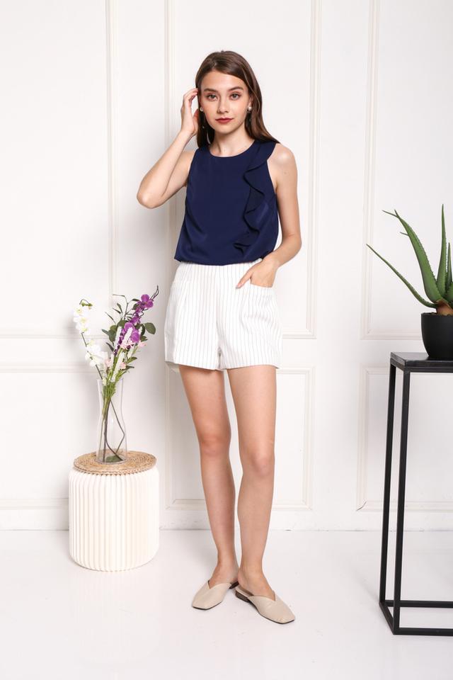 Veronique Striped Pocket Shorts in White