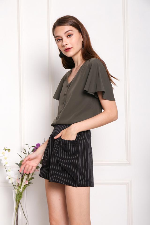 Veronique Striped Pocket Shorts in Black