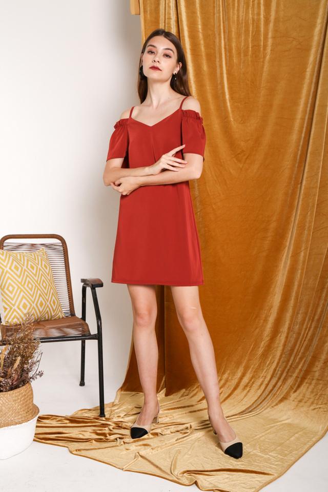 Brielle Elastic Cold Shoulder Dress in Rust