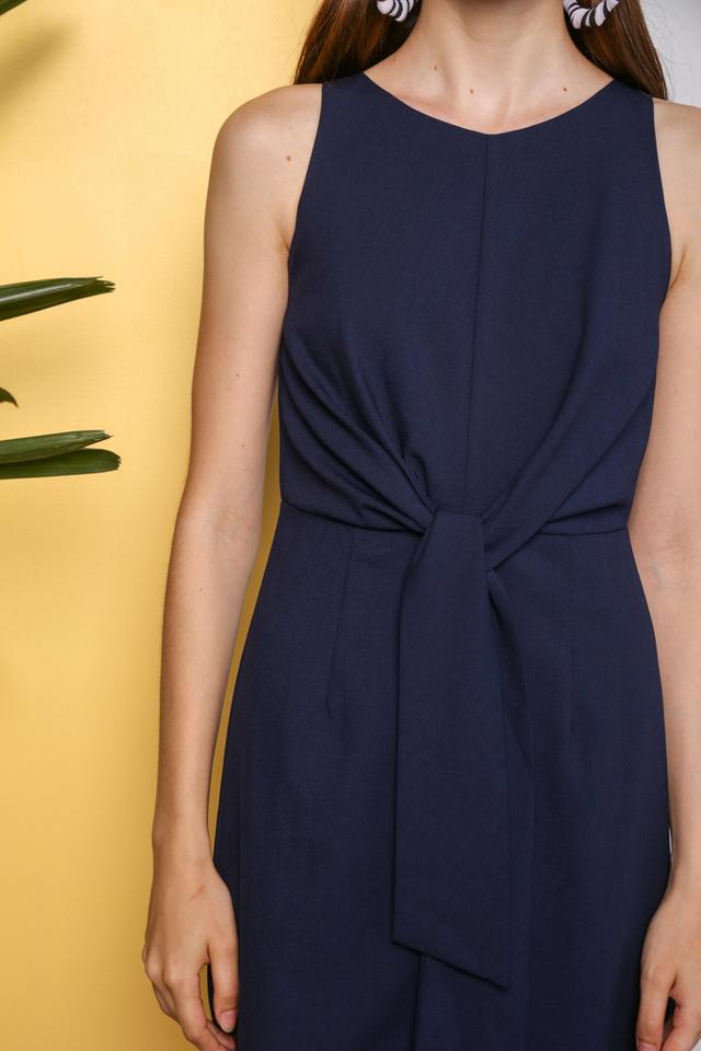 Shaylee Knot Tie Midi Dress in Navy