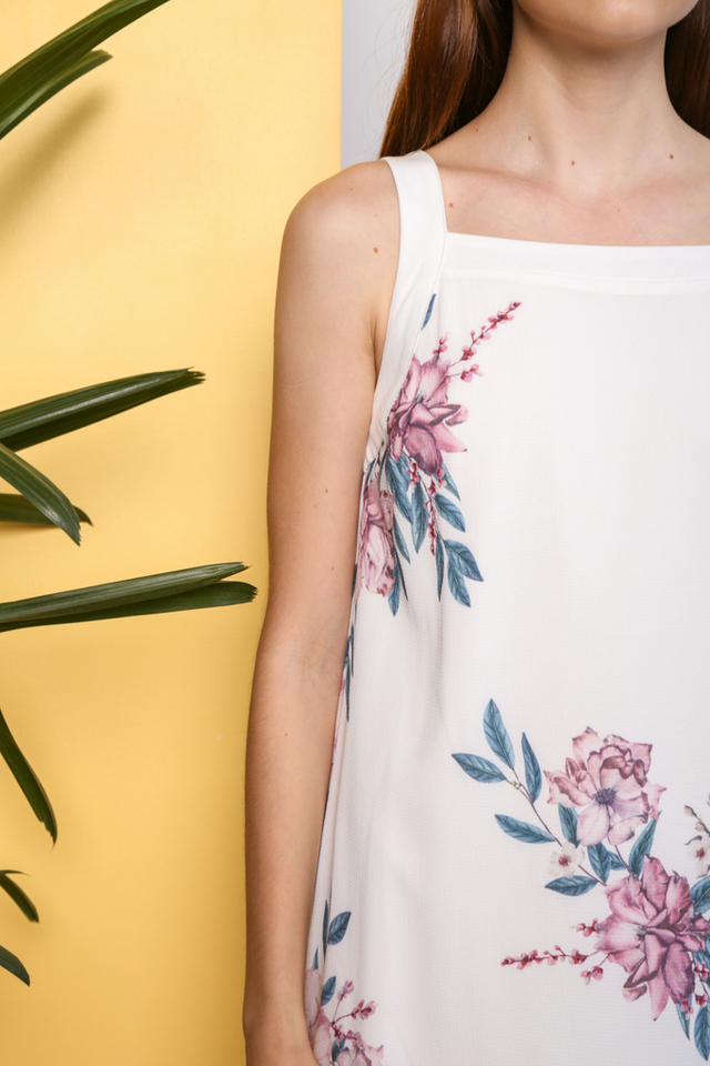 Faylee Floral Printed Dress in White