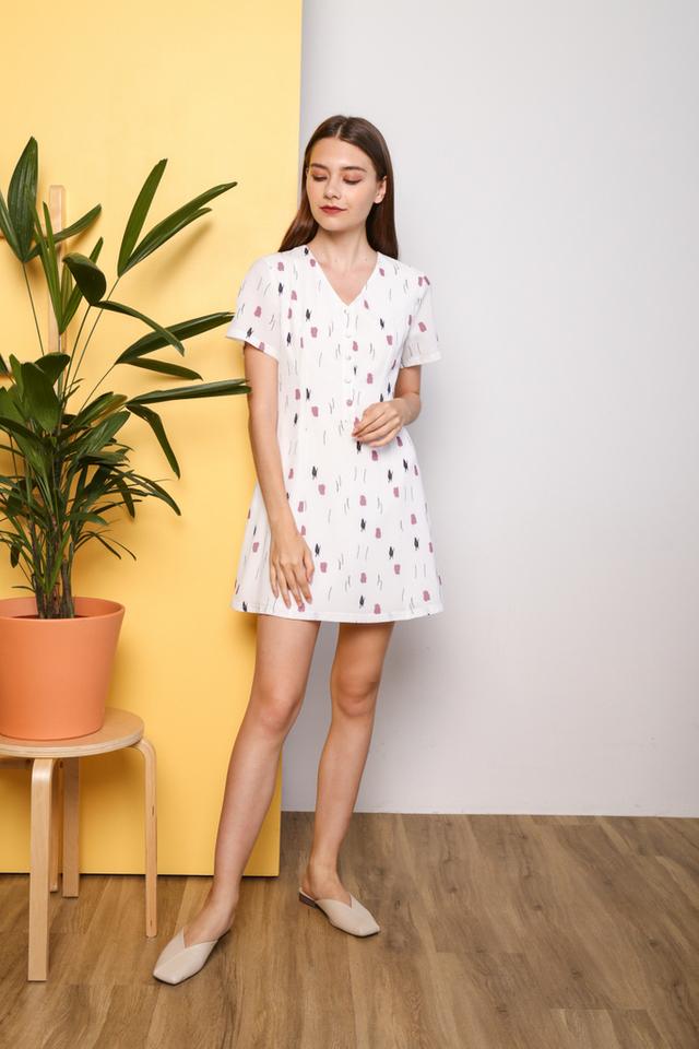 Salena Printed Button Flare Dress in White