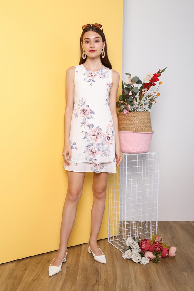 Kiyeon Floral Sleeveless Dress in White (XS)