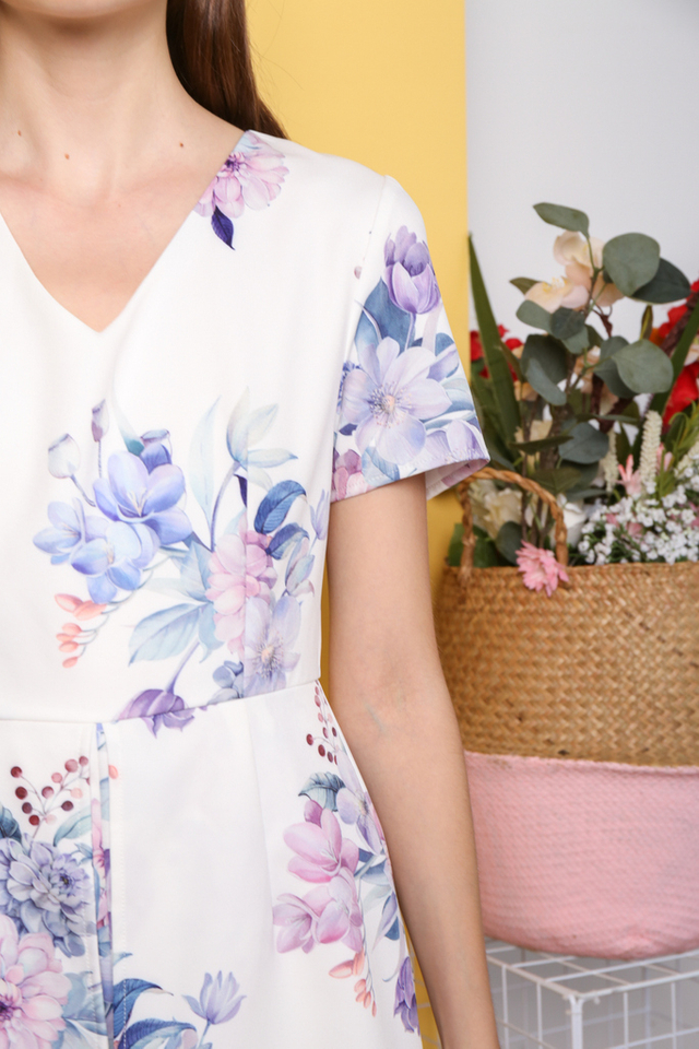 Minji Floral Printed Overlay Romper in White (XS)