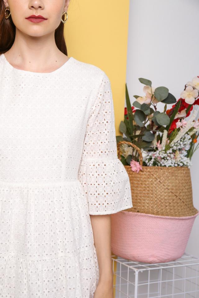 Hea Premium Eyelet Sleeve Dress in White