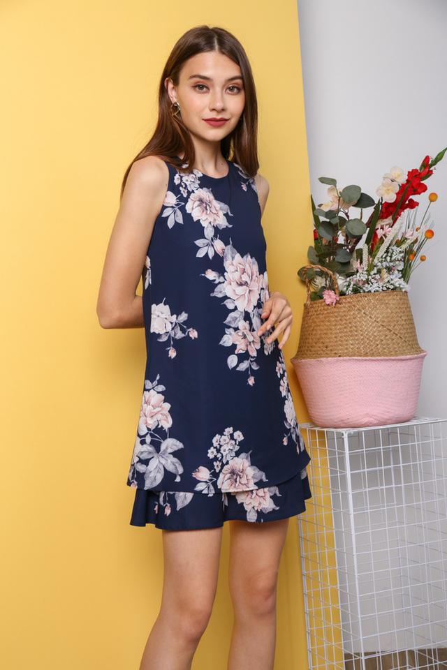 Kiyeon Floral Sleeveless Dress in Navy (XS)