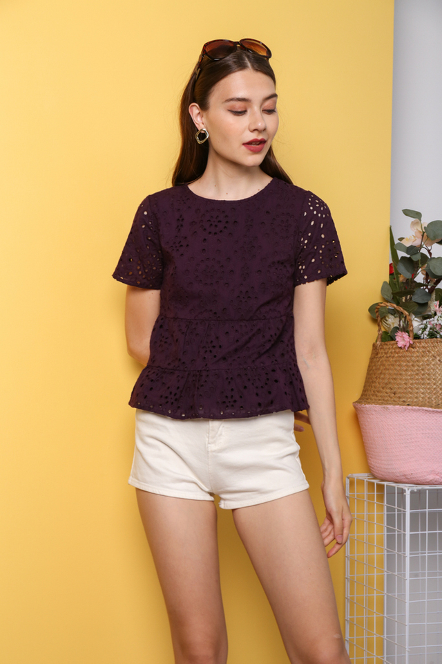 Youngmi Eyelet Top in Plum (XS)