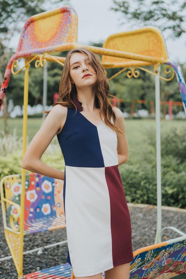 Val Colourblock Dress in Cream