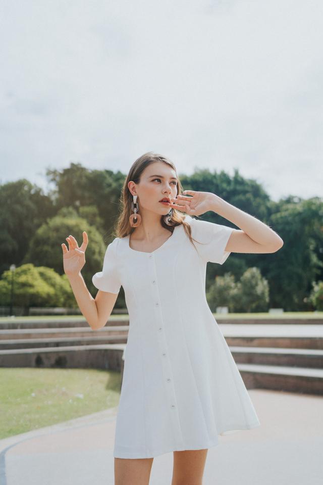 Celeste Button Panel Dress in White (M)