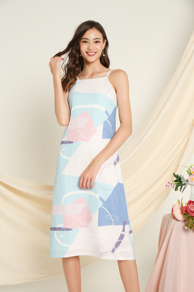 Zonia Printed Midi Dress in Blue