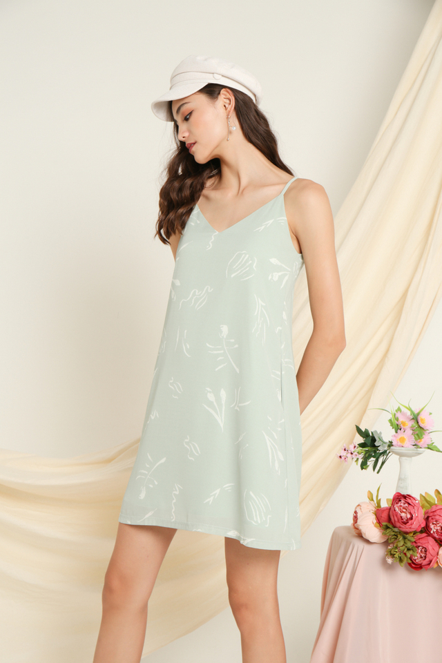 Sherie Printed Sleeveless Dress in Sage