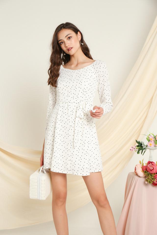 Baylee Elastic Shoulder Button Dress in White