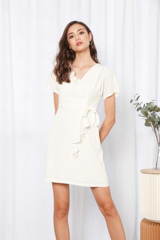 Delena Ruffles Hem Ribbon Dress in White