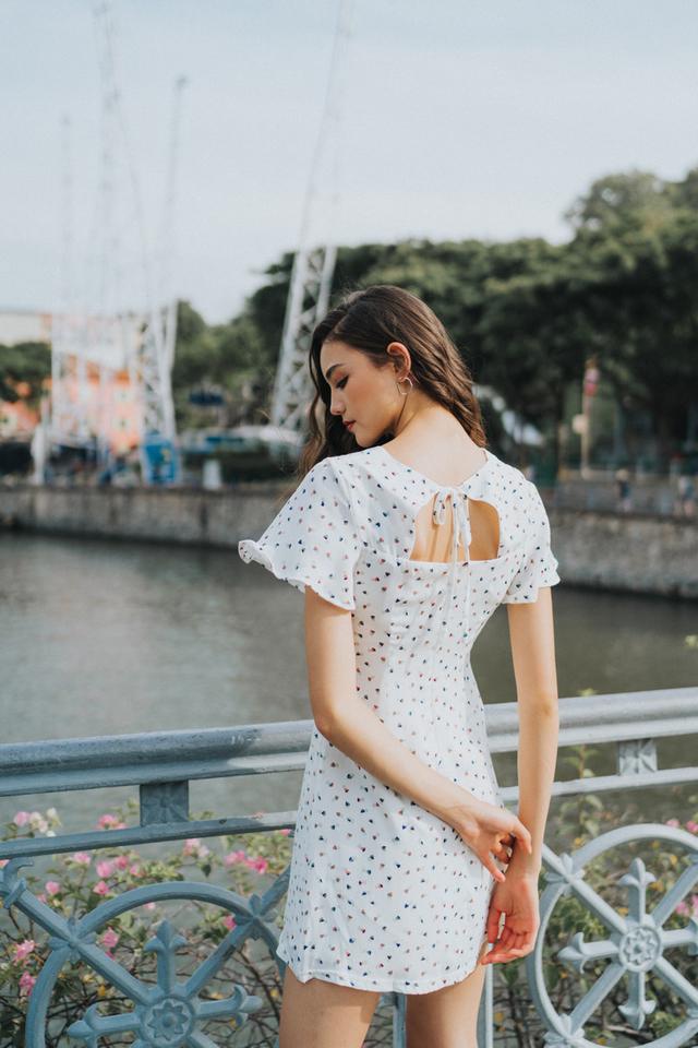 Tessa Heart Shaped Keyhole Dress in White