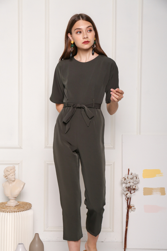 Brettlyn Classic Sash Jumpsuit in Forest