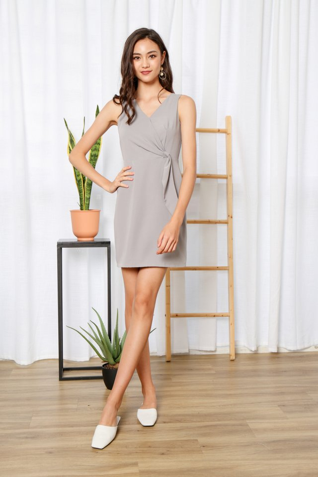 Jenise Side Knot Dress in Grey