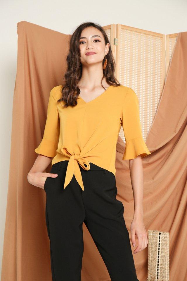 Glynda Tie-Front Top in Mustard (XS)