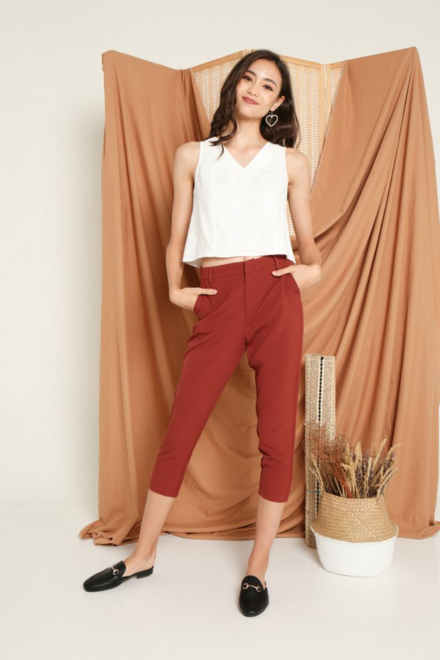Vinnie Mid-Waisted Pants in Rust