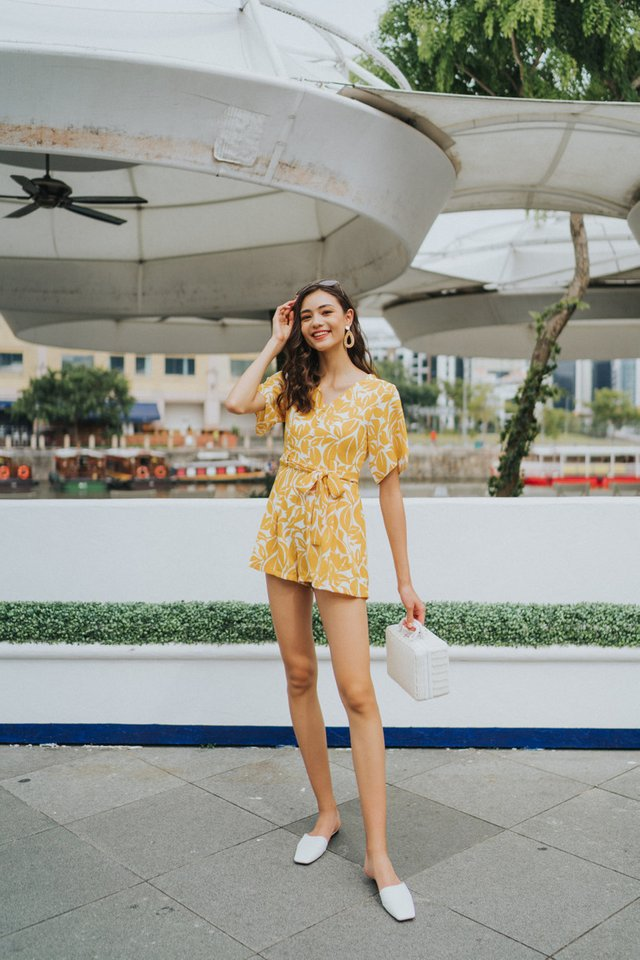 Lavelle Printed Button Romper in Mustard (XS)