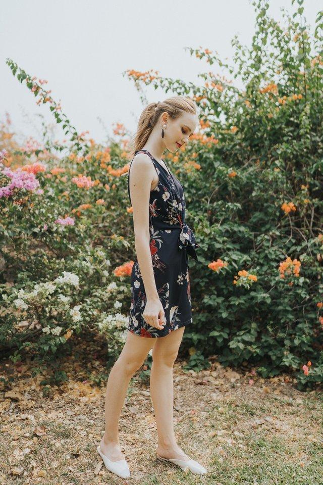 Ellison Floral Ribbon Dress in Navy