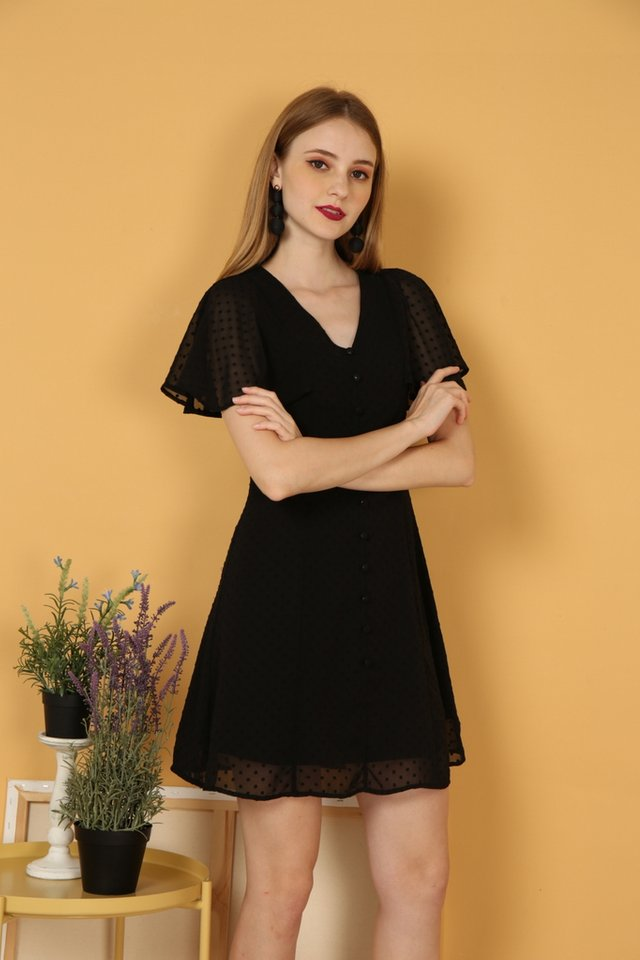 Maeve Swiss Dots Dress in Black (XS)