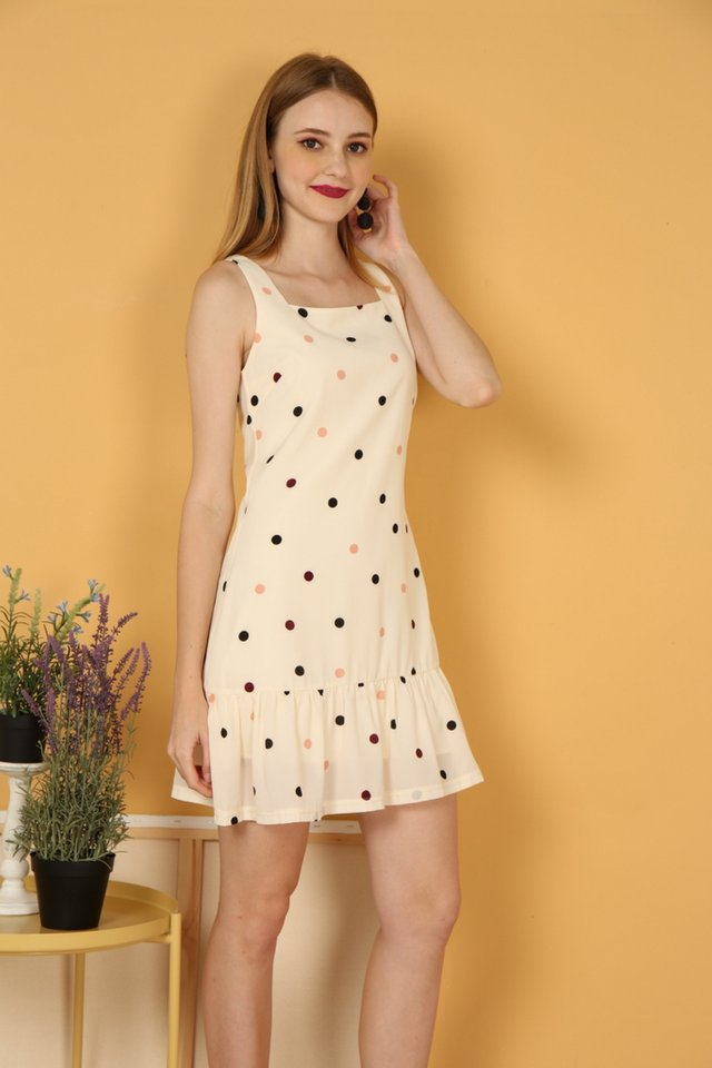Anais Polka Dot Dropwaist Dress in Cream