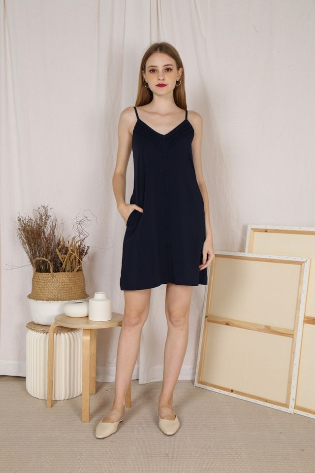 Megan Pleated Button Dress in Navy (L)
