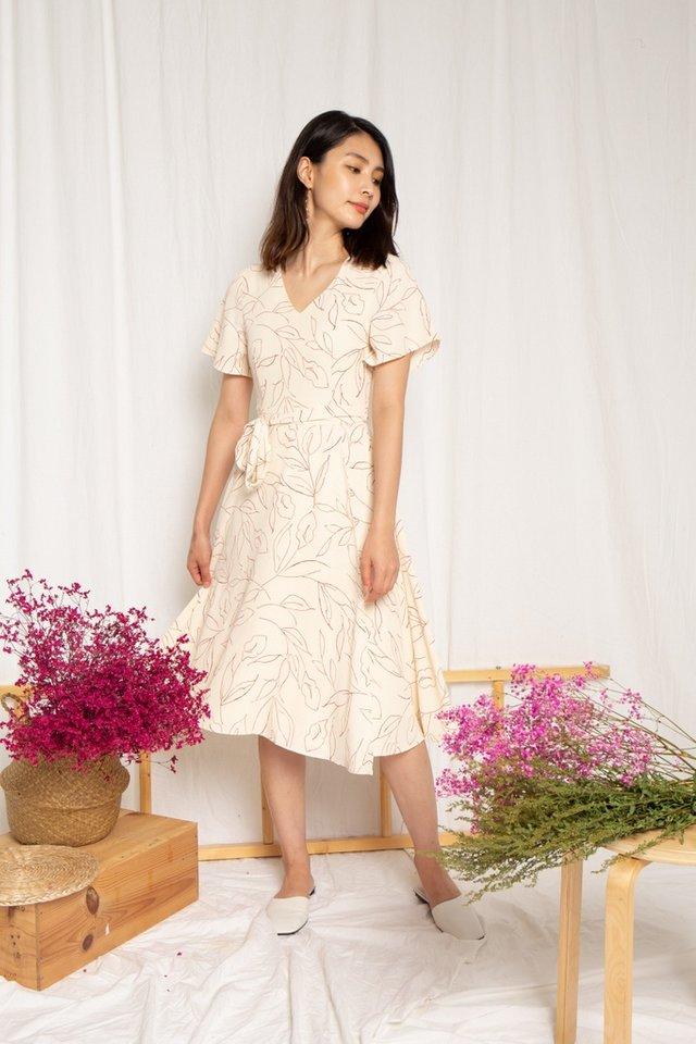 Alison Leafy Overlay Midi Dress in Cream (XS)