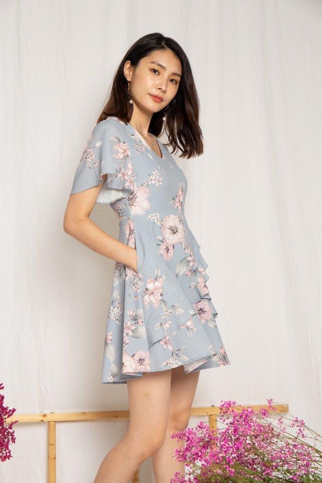 Kaitlyn Floral Ruffles Dress in Dusty Blue (XS)
