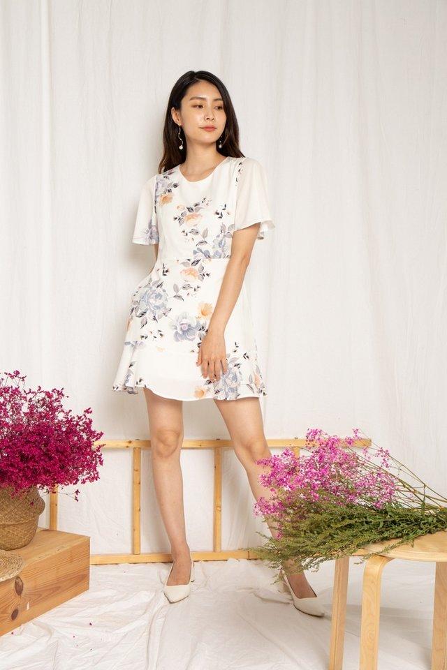 Cassidy Floral Ruffles Hem Dress in White (XS)