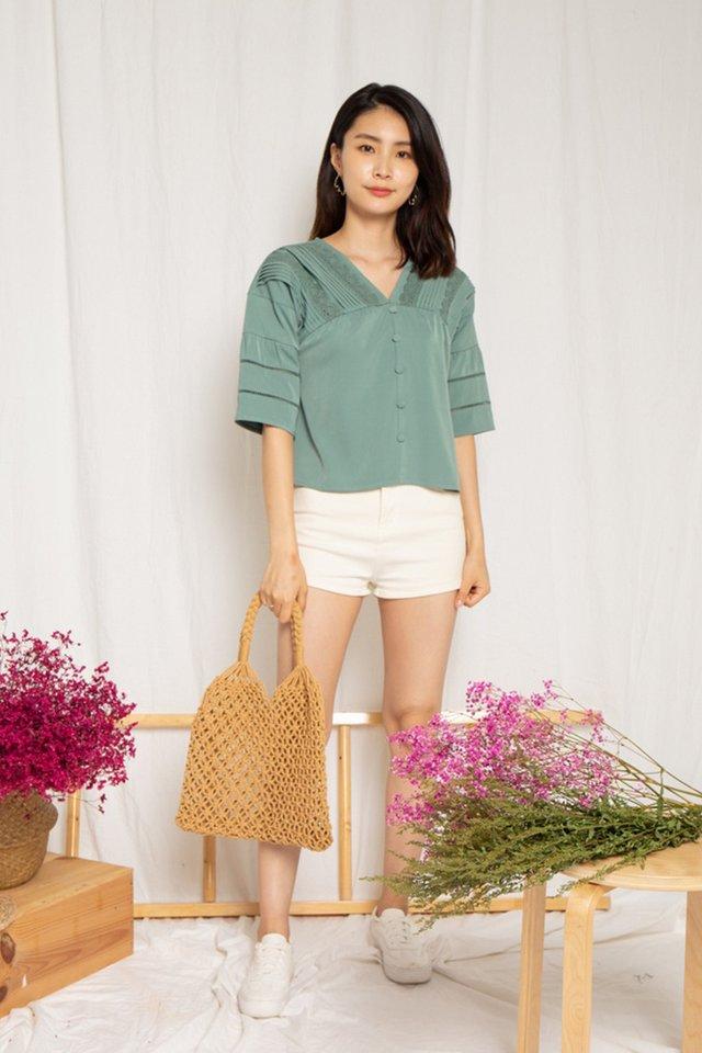 Hallie Crochet Sleeved Top in Sage (XL)