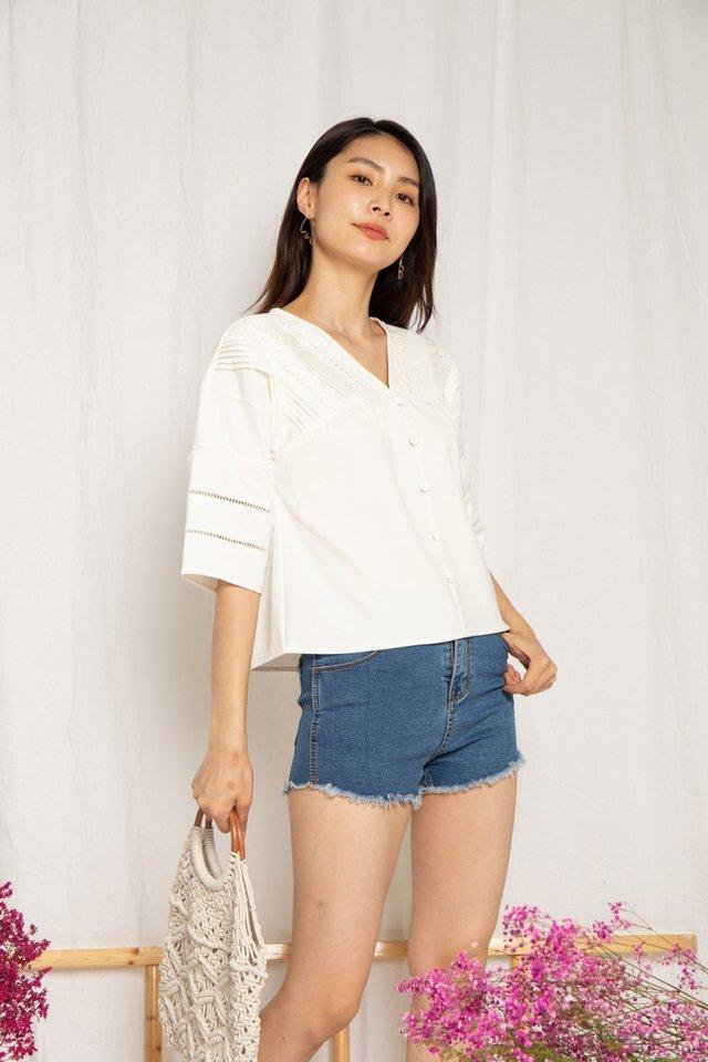 Hallie Crochet Sleeved Top in White