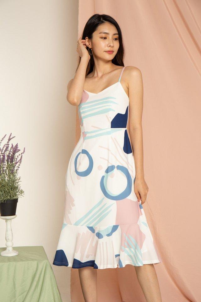 Jazelle Abstract Hem Midi Dress in Pink