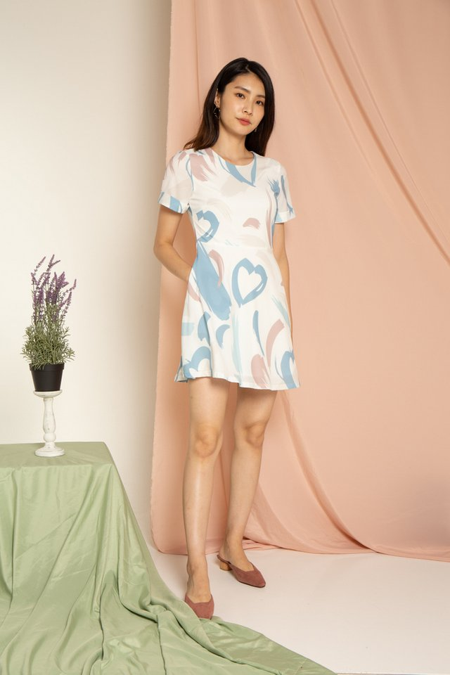 Olanna Abstract Skater Dress in Mauve (XS)