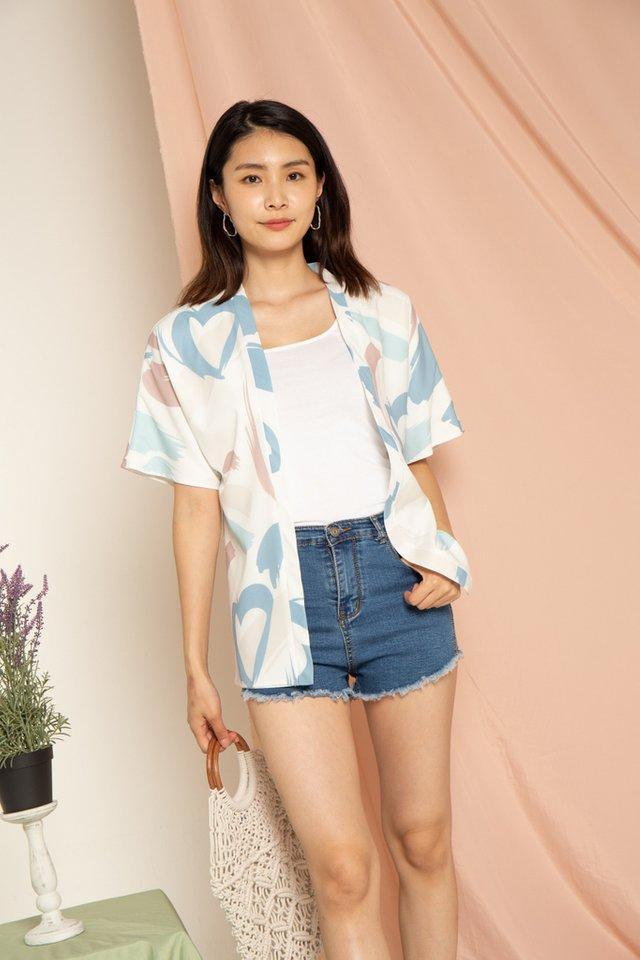 Aiyanna Abstract Kimono in Mauve (S)